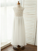 Square Neckline Floor-Length Chiffon Junior Bridesmaid Dress With Lace