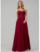 Sweetheart Floor-Length Chiffon Prom Dresses With Lace Beading