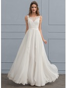 Scoop Neck Floor-Length Chiffon Wedding Dress With Cascading Ruffles