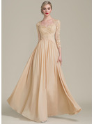 A-Line/Princess Sweetheart Floor-Length Chiffon Lace Mother of the Bride Dress With Ruffle Beading