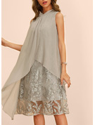 Cotton Blends With Print/Embroidery Knee Length Dress