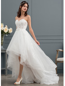 A-Line/Princess Sweetheart Asymmetrical Tulle Wedding Dress With Beading Sequins Bow(s)