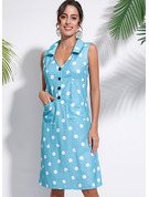 Polyester/Cotton With Button/PolkaDot Knee Length Dress