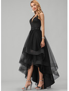 A-Line V-neck Asymmetrical Tulle Prom Dresses With Beading Sequins