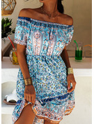 Print A-line Off the Shoulder Short Sleeves Midi Boho Casual Vacation Skater Dresses