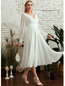 V-neck Tea-Length Wedding Dress