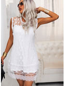 Lace Solid Shift Round Neck Sleeveless Midi Casual Vacation Tank Dresses