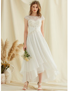 Scoop Neck Asymmetrical Chiffon Lace Wedding Dress