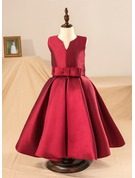 Tea-length Flower Girl Dress - Satin Sleeveless Scoop Neck With Bow(s) (Petticoat NOT included)