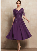 A-Line V-neck Tea-Length Chiffon Lace Mother of the Bride Dress With Sequins