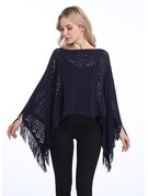 Solid Color/Tassel Oversized/simple Artificial Wool Poncho
