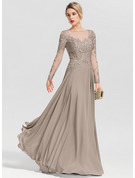 A-Line Scoop Neck Floor-Length Chiffon Evening Dress With Beading Sequins