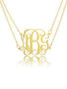 Christmas Gifts For Her - Custom 18k Gold Plated Silver 3D Monogram Necklace