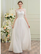 A-Line Illusion Floor-Length Chiffon Wedding Dress