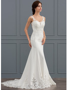 Trumpet/Mermaid V-neck Court Train Satin Lace Wedding Dress With Sequins