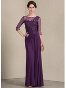 Sheath/Column Scoop Neck Floor-Length Jersey Mother of the Bride Dress With Ruffle Beading Sequins