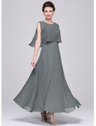 A-Line V-neck Ankle-Length Chiffon Sequined Mother of the Bride Dress With Ruffle
