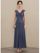 V-neck Ankle-Length Chiffon Lace Mother of the Bride Dress With Ruffle Beading