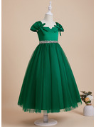 Ball-Gown/Princess Ankle-length Flower Girl Dress - Satin/Tulle Sleeveless V-neck With Beading/Sequins/Bow(s)