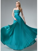 Empire Sweetheart Floor-Length Chiffon Holiday Dress With Beading Pleated