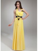 A-Line/Princess Halter Floor-Length Chiffon Holiday Dress With Ruffle Sash Beading