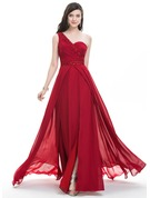A-Line/Princess One-Shoulder Sweep Train Chiffon Prom Dresses With Ruffle Beading Sequins Split Front