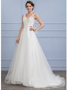 A-Line/Princess V-neck Sweep Train Tulle Wedding Dress With Beading Sequins
