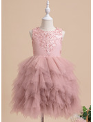 Ball-Gown/Princess Knee-length Flower Girl Dress - Sleeveless Scalloped Neck With Lace