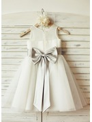 A-Line/Princess Knee-length Flower Girl Dress - Chiffon/Tulle Sleeveless Scoop Neck With Bow(s)