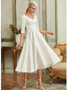 A-Line V-neck Tea-Length Satin Wedding Dress