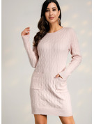 Cable-knit Chunky knit Solid Polyester One Shoulder Pullovers Sweater Dresses Sweaters