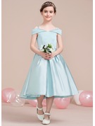 A-Line Tea-length Flower Girl Dress - Satin Sleeveless Off-the-Shoulder