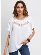 1/2 Sleeves Cotton Blends Round Neck Blouses