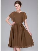 Scoop Neck Knee-Length Chiffon Bridesmaid Dress With Cascading Ruffles