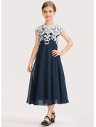 Scoop Neck Tea-Length Chiffon Lace Junior Bridesmaid Dress