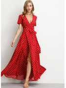 Chiffon With PolkaDot Maxi Dress