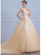 Ball-Gown Scoop Neck Cathedral Train Tulle Lace Wedding Dress With Beading