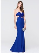 Trumpet/Mermaid Sweetheart Floor-Length Chiffon Prom Dresses With Beading Sequins