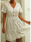 Striped A-line V-Neck Short Sleeves Midi Casual Skater Dresses