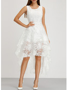 Lace/Organza With Lace/Solid Asymmetrical Dress