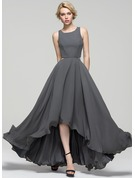 A-Line/Princess Scoop Neck Asymmetrical Chiffon Evening Dress