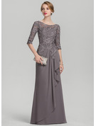 Scoop Neck Floor-Length Chiffon Lace Mother of the Bride Dress