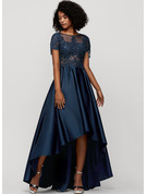 A-Line Scoop Neck Asymmetrical Satin Prom Dresses With Beading Sequins