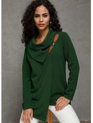Long Sleeves Polyester Stand collar Knit Blouses