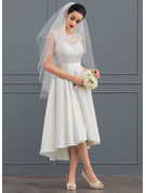 Asymmetrical Satin Lace Wedding Dress