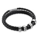 Gifts For Him - Copper Men Braided Leather Bracelets With Custom Beads In Silver