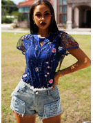 Regular Polyester Round Neck Floral Print Fitted Blouses