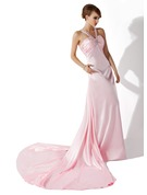 A-Line V-neck Court Train Charmeuse Holiday Dress With Ruffle Beading