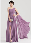 One-Shoulder Floor-Length Chiffon Evening Dress