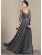 A-Line/Princess Sweetheart Floor-Length Chiffon Lace Mother of the Bride Dress With Beading Pleated